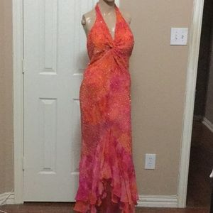 Pink orange beaded gown